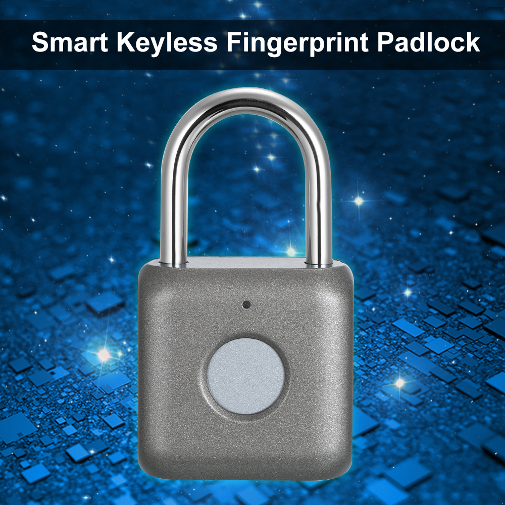 Image 5 - USB Charging Keyless Fingerprint Padlock Intelligent Electronic Non password Finger Touch Lock Biometric Unlock Waterproof-in Electric Lock from Security & Protection