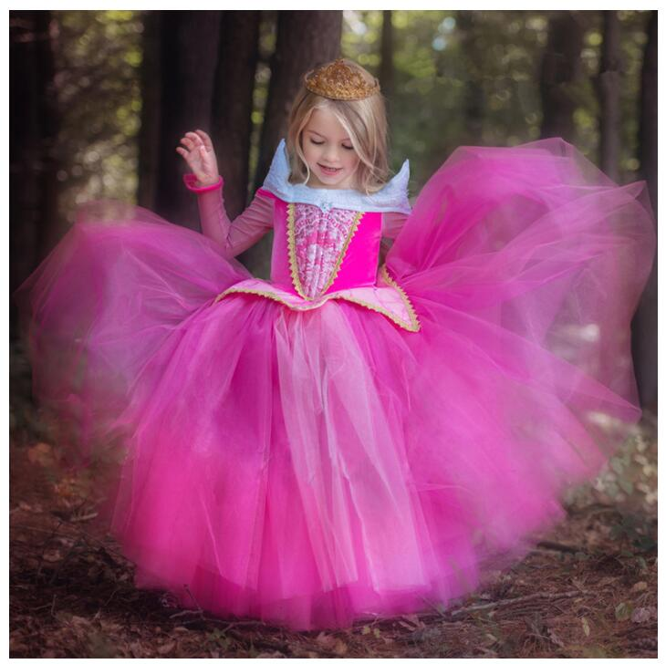 Girls Sleeping Beauty Princess Cosplay Party Dresses Children Long Sleeve Aurora Costume Clothing Kids Tutu Dress N1580