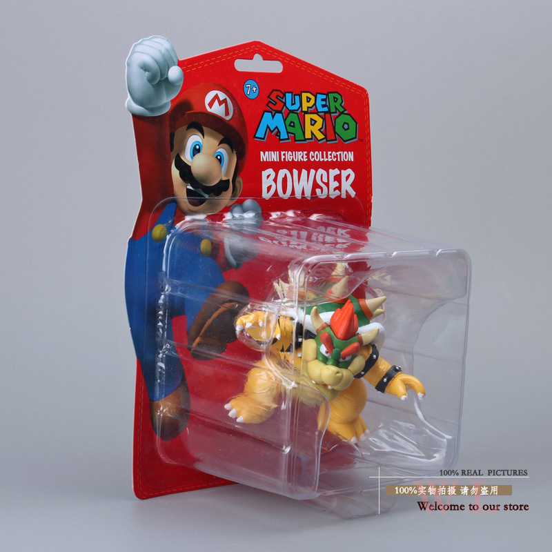 Free Shipping Super Mario Bros Bowser PVC Action Figure Collection Model Toy Doll 3.5 9CM New in Retail Box SMFG216