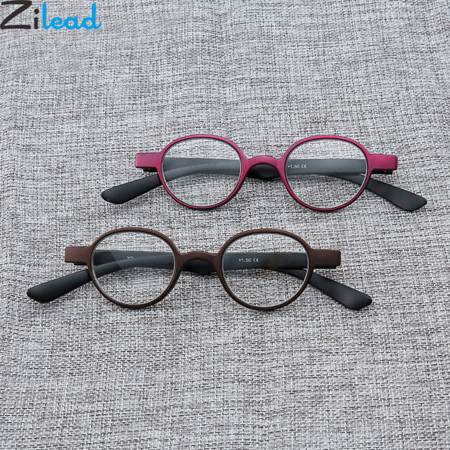Zilead Portable Small Frame Round Reading Glasses Soft Ultralight Anti fatigue Resin Presbyopic Glasses For Female&Male Unisex