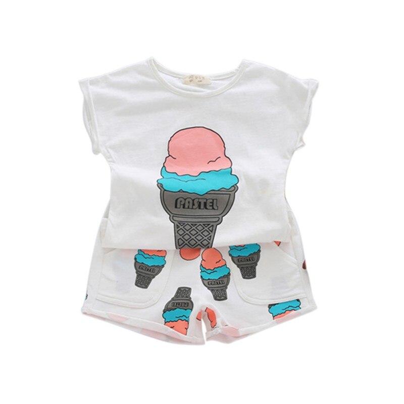 Новые девушки прекрасная одежда ice cream печати рукавов футболки лето новорожденных девочек рубашки топы + шорты повседневные 2 шт. костюмы