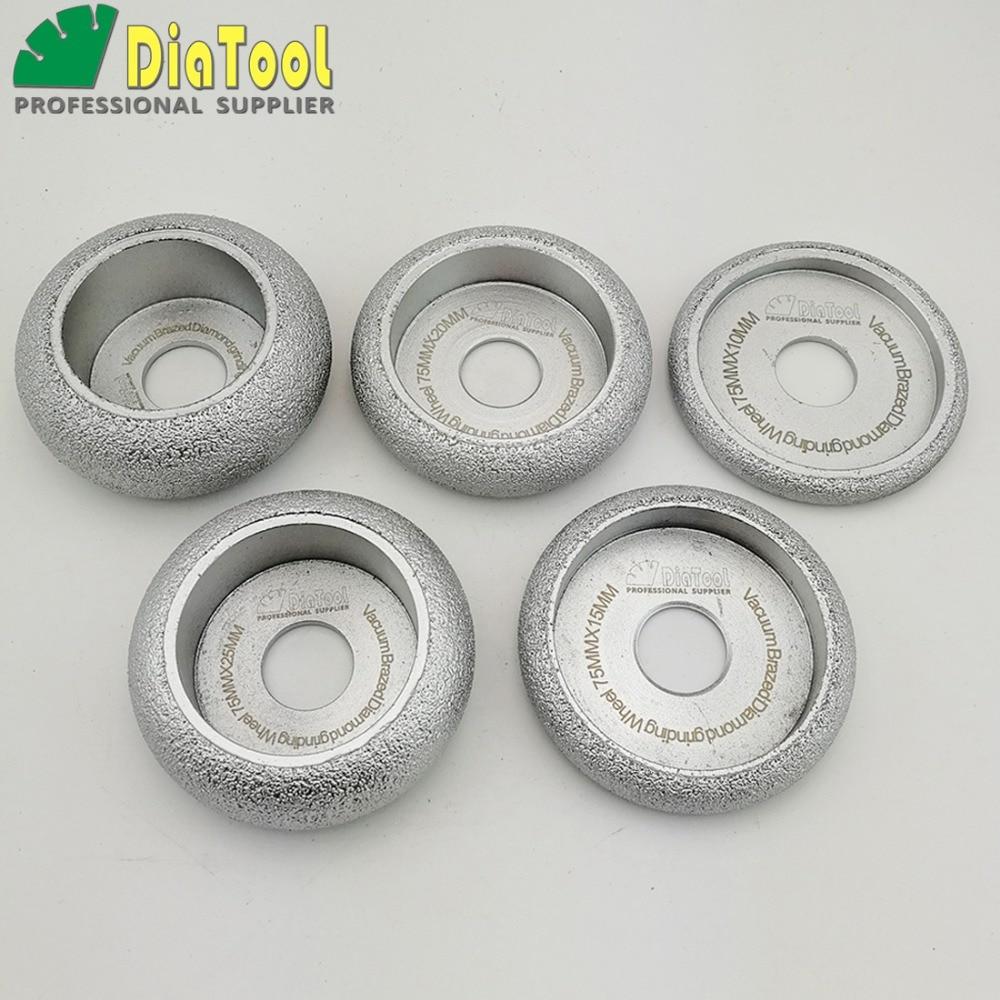 DIATOOL 5pcs Dia75mm 10 15 20 25 30MM Vacuum Brazed Diamond CONVEX Grinding Wheel For Stone