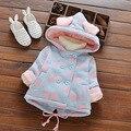 Ponto onda outono casaco menina casaco de inverno das crianças para a roupa do bebê recém-nascido 2016 bonito dos desenhos animados Princesa das meninas outerwear casaco