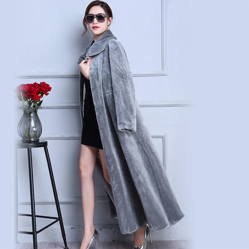 Nerazzurri Real fur coat extra long gray skirt sheep shearing fur coat thick winter sheared lamb fur overcoat plus size 5xl 6xl in Real Fur from Women 39 s Clothing