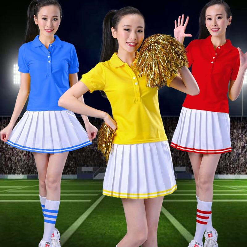 (with 2pcs Pom Poms)Women Costume College Cosplay Costume College Cheerleader Fancy Dress Costumes Teacher Cheerleader