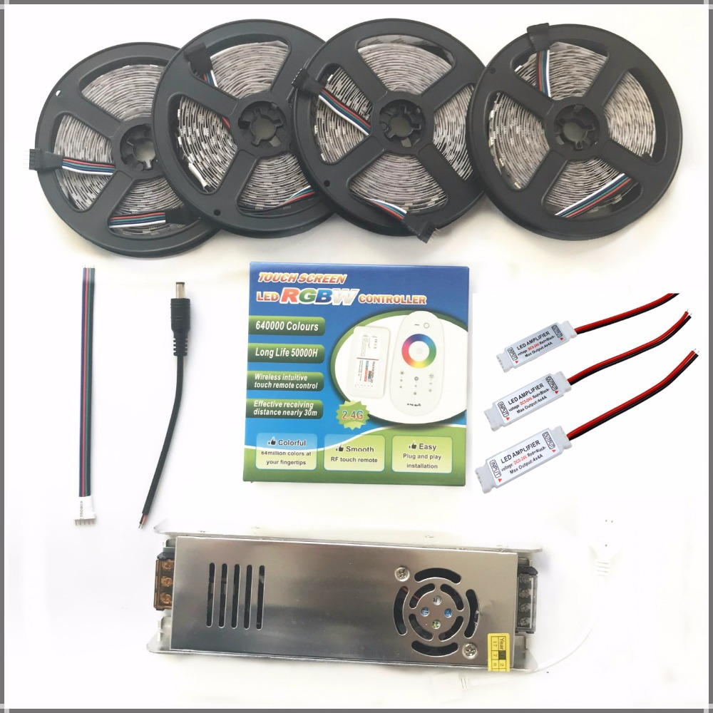 5050 RGBW/RGBWW LED Strip Set With 2.4G Touch RF Remote Controller+12V Power Supply Adapter+Amplifier 5M/10M/15M/20M  thanWS2812