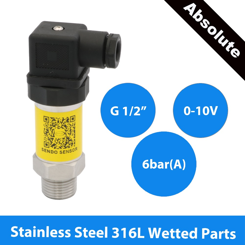 0 10V sensor pressure, 12 30V 24V dc supply, 600 KPa, 6 bar absolute transducer, thread G1 2, stainless steel 316L wetted parts