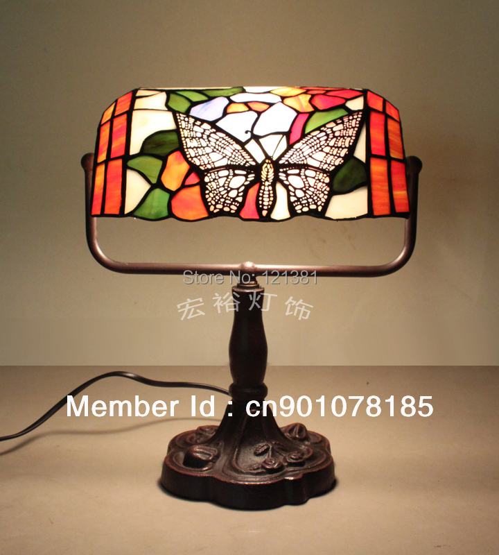Vintage Tiffany Style Table Lamp Bankers Lamp Stained