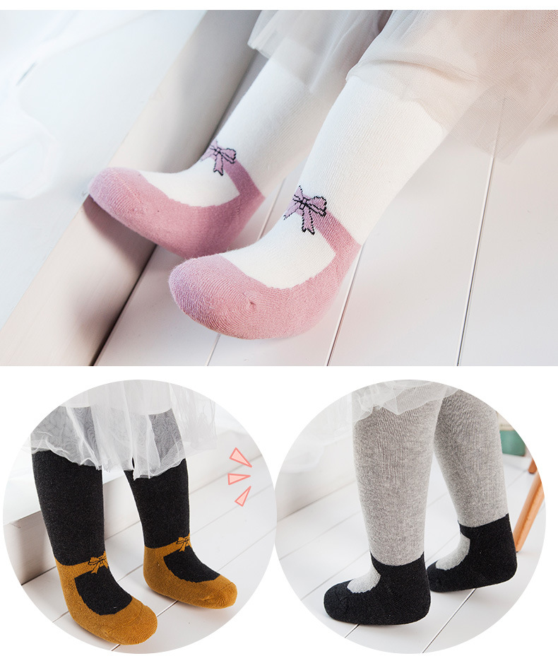 Spring Baby Pantyhose Girls Children Breathable Cotton Lace Bowknot Tights 0-4 T