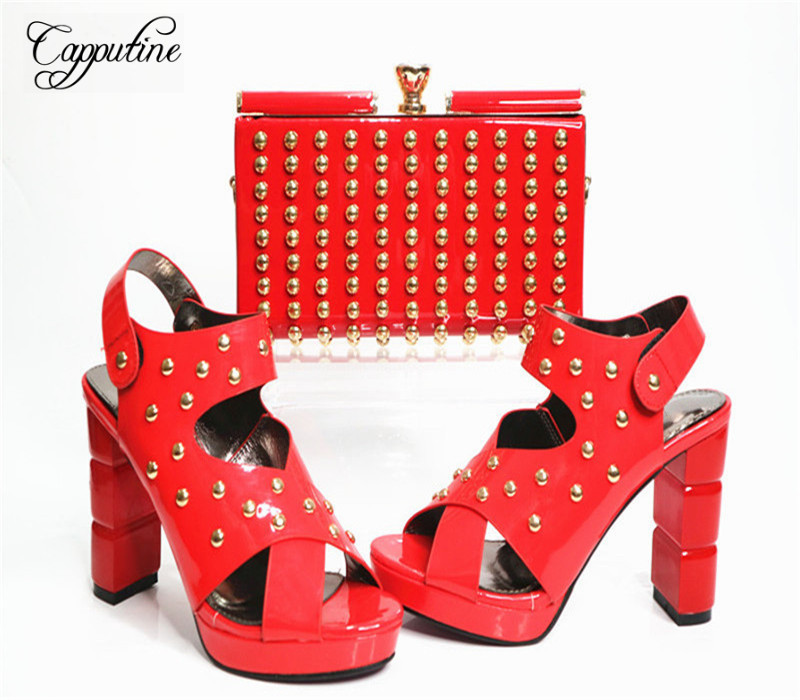 Capputine New Arrival Fashion Shoes And Bag Set High Quality Italian Style Woman High Heels Shoes And Bags Set For Wedding Party