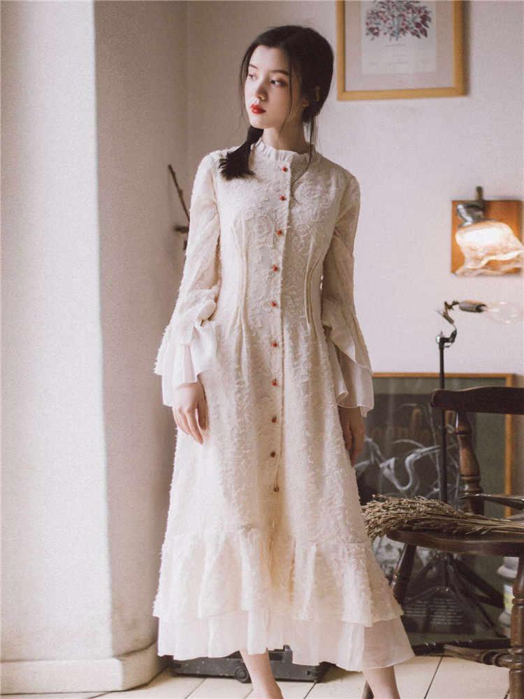 a801570de9b Vintage Mori Girl Long Maxi Dress Retro Embroidery Lace Flare Sleeve  Ruffled Fairy Dresses For Female