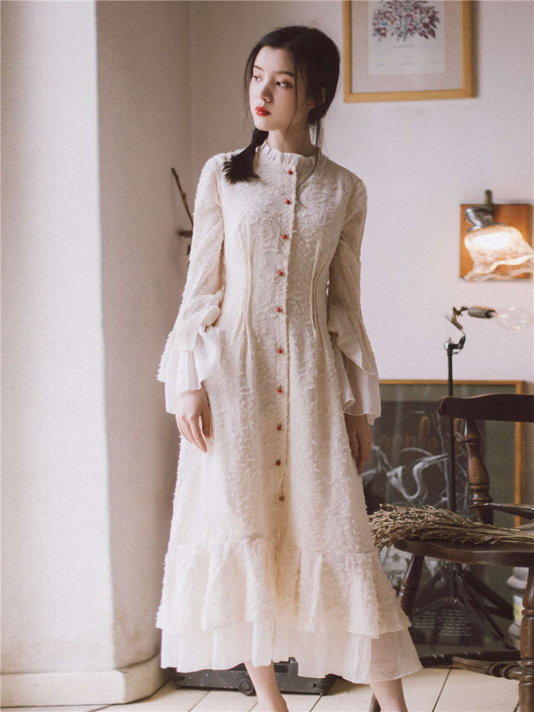 Vintage Mori สาวชุด Maxi ยาว Retro เย็บปักถักร้อยลูกไม้ Flare Sleeve Ruffled Fairy ชุดหญิง Vestidos ฤดูใบไม้ผลิฤดูใบไม้ร่วง-ใน ชุดเดรส จาก เสื้อผ้าสตรี บน AliExpress - 11.11_สิบเอ็ด สิบเอ็ดวันคนโสด 1