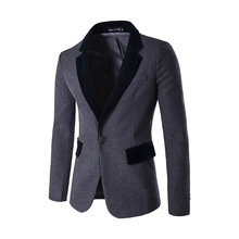 New males's vogue pocket neckline crashed a grain of buckle woolen fabric coloration swimsuit jacket The gentleman costume