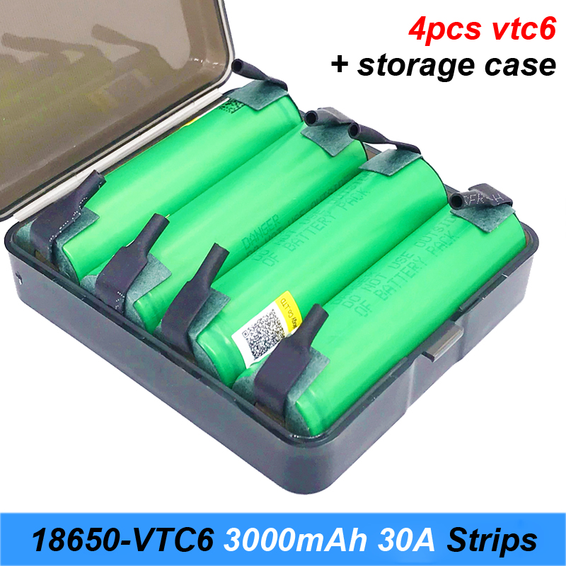original 18650 VTC6 with strips soldered US18650VTC6 3000mAh 30amps 18650 rechargeable batteries for screwdrivers for Turmeraj10