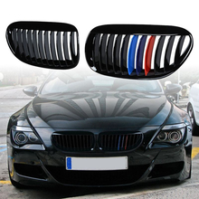 1pair Gloss Black M Color Grilles High Impact Polystyrene Grilles For 2004-2010 BMW E63 E64 6-Series Coupe Convertible car styling glossy black m color front grille grilles for bmw 6 series e63 e64 m6 05 10 convertible coupe auto car styling