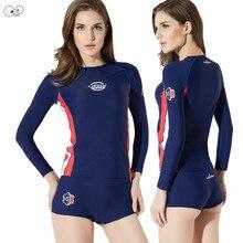 6a7ec5ed647 Azul marino de manga larga 4 piezas mujeres UPF50 + lycra completo cuerpo  traje de baño