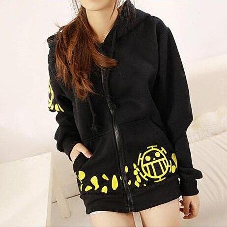 Hot Sale Japanese Anime One Piece Cosplay Trafalgar Law Cosplay Costume Trafalgar Law Hoodies Hooded Jacket Black Coat