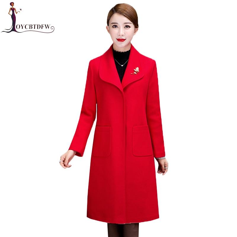 Jaqueta 2018 Winter Women Plus Size Elegant Single breasted Wool Jacket Casaco Fashion Red Wool Coats Female Outerwear 4XL NO311