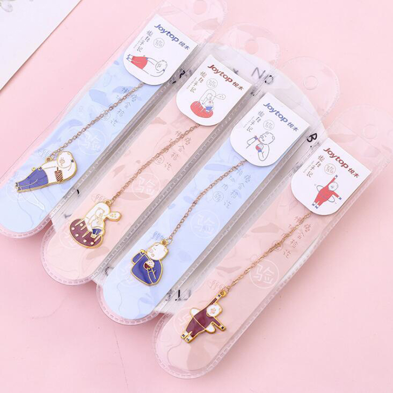 1pc Kawaii Lazy Pig Metal Bookmark Cute Cherry Blossom Rabbit Bookmarks Books Paper Clips Marker Bookmark Office School Supplies