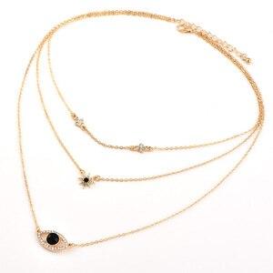 Bls-wunder Vintage Schwarz Kristall Auge Anhänger Multi schicht Halsketten Für Frauen Mode Gold Lange Hexagon Anhänger Halskette Schmuck