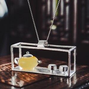Image 2 - לוטוס כיף רגע אמיתי 925 כסף סטרלינג תכשיטים טבעי אבן בציר קומקום תליון ללא שרשרת לנשים
