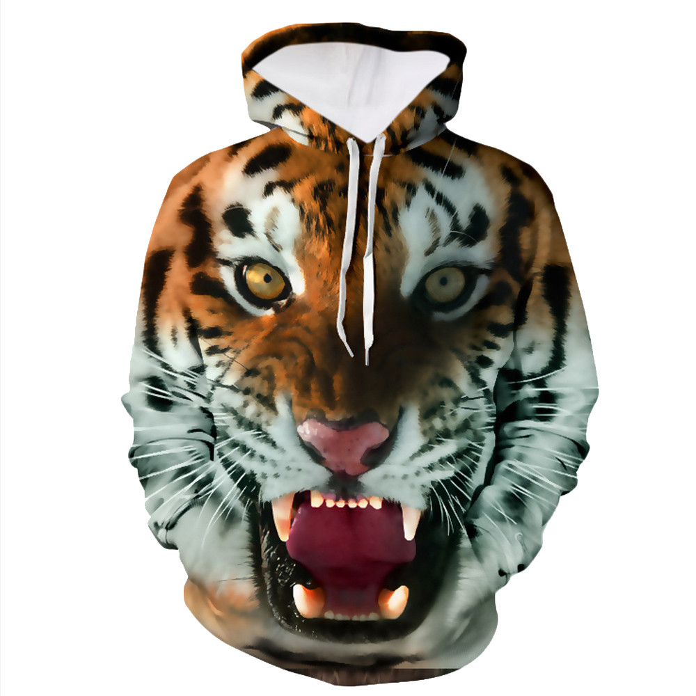 2017 New Fashion Hooded Men Women Hoodies 3d Printed Tiger Streetwear Hip Hop Mens Sweatshirt Cap