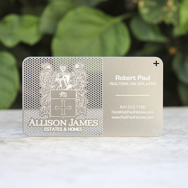 hollow out cut out stainless steel metal business card