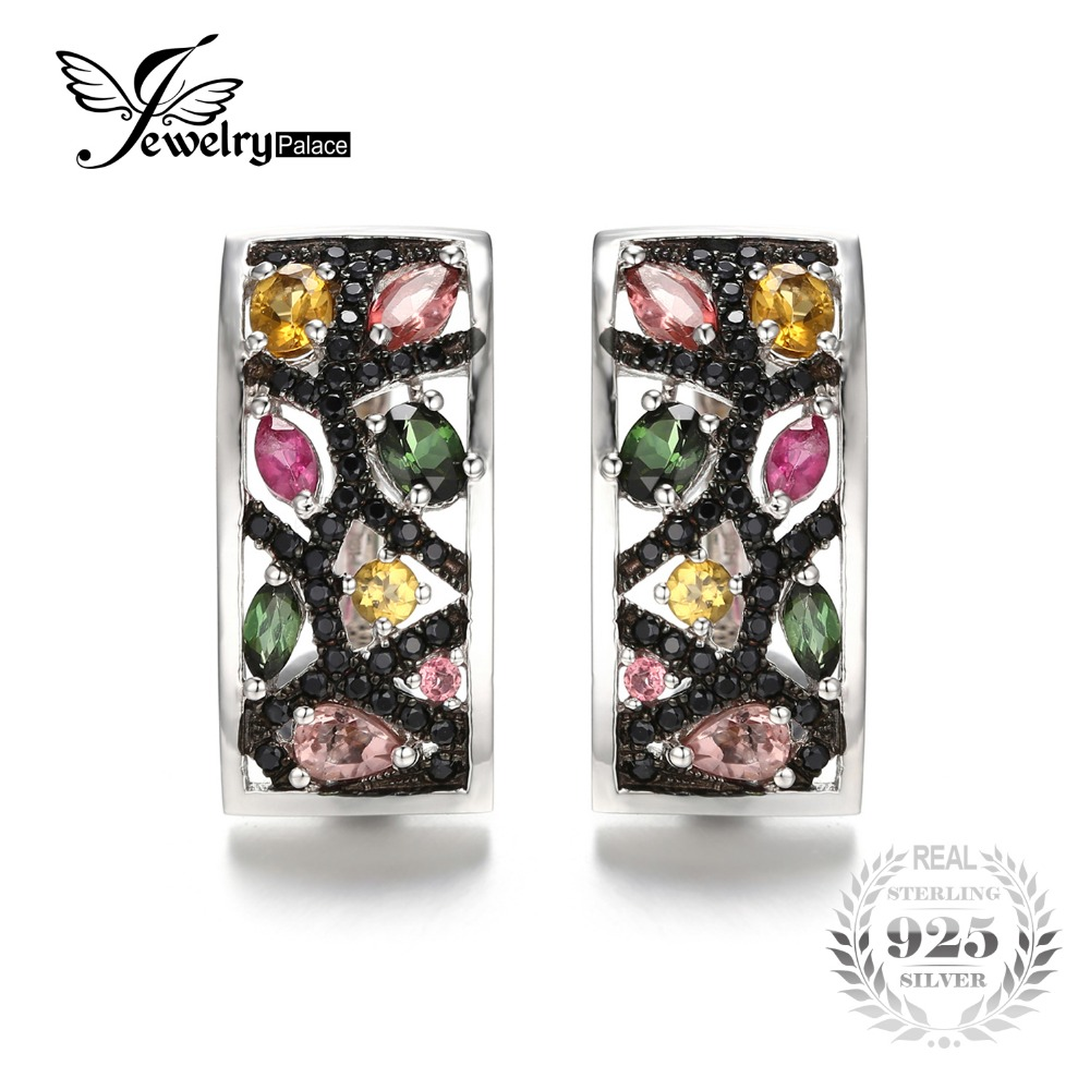 JewelryPalace Halloween 2.1ct Multicolor Genuine Tourmaline Black Spinel Earrings 925 Sterling Silver Gifts For Her Anniversary