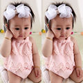 Baby Girls Flower Lace Dress Bodysuit Ruffles Pink Sleeveless Jumpsuit Outfit Set Summer Clothes