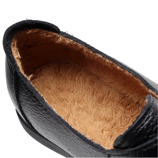 Women Flats Soft Genuine Leather Shoes Women Autumn Winter loafers With Fur Comfort Casual Moccasins Plus Size 35 to 42 43