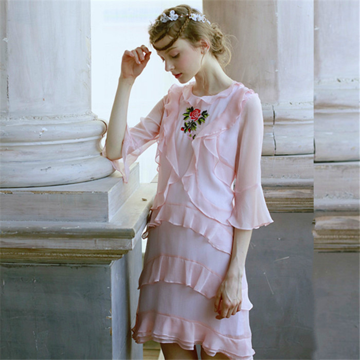 LYNETTE'S CHINOISERIE Pink rose embroidery gentlewomen fairy ruffled pleated slim medium-long one-piece dress maison jules new junior s medium m pink dotted pleated contrast knit dress $79