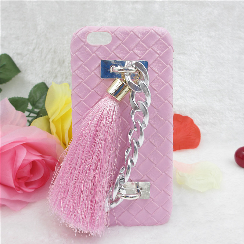 YRFF Fashion Luxury Metal Rope pink tassel Case For iphone 6 6S Leather Weave Hard Back Cover Fundas For iphone 6 PLUS case