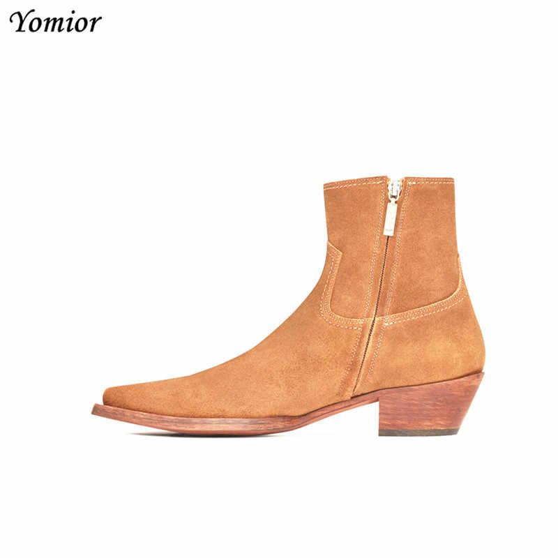 Новинка; классические брендовые Дизайнерские мужские ботильоны из натуральной кожи; модные осенне-зимние ботинки челси высокого качества; модельные ботинки на платформе