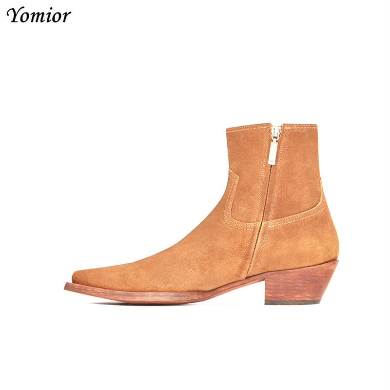 New Classic Brand Design Genuine Leather Men Ankle Boots Fashion Autumn Winter High Quality Chelsea Boots Dress Platform Boots autumn winter black gold leather chelsea ankle boots european design man chelsea buckle boots dress metal chain short boots