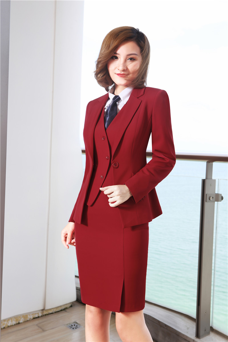 Fashion Red Uniform Designs Blazers 3 Pieces Sets With Jackets + Skirt + Vest & Waistcoat For Women Business Work Wear Skirt Set