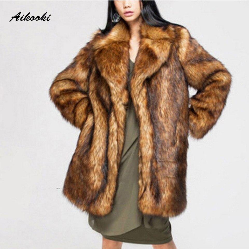 Aikooki haut de gamme nouvelle mode hiver chaud vêtements femmes fourrure manteau de longueur moyenne épais manteau haute Imitation renard manteaux de fourrure