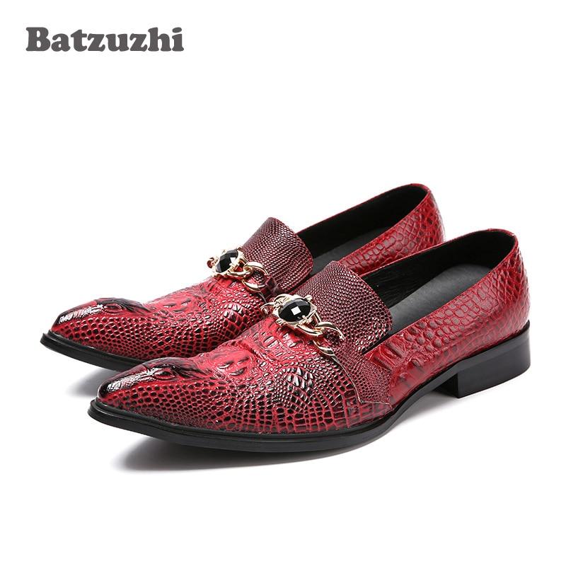 Batzuzhi Italian Style Fashion Men's Leather Shoes Wine Red Crocodile Skin Pattern Leather Dress Shoes Men Pointed Toe, EU38-46 crocodile 168 crocodile red skin pattern