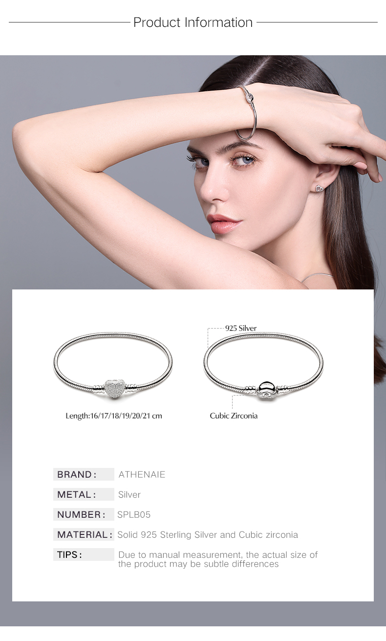 ATHENAIE 925 Sterling Silver Snake Chain With Pave Clear CZ Heart Clasp Bracelet Fit All European Charm Beads Christmas Jewelry