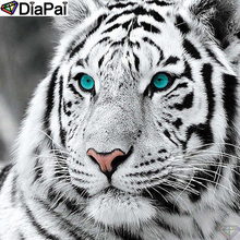 DiaPai 100% Full Square/Round Drill 5D DIY Diamond Painting Animal white tiger Embroidery Cross Stitch 3D Decor A21002