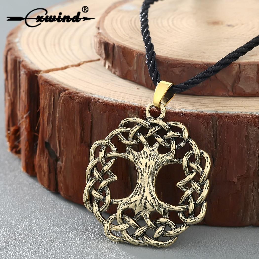 Cxwind винтажное ожерелье с деревом жизни, подвески с деревом мира, ожерелья, скандинавский кулон с викингом, бронзовое ожерелье, ювелирные изд...