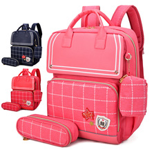 Kids 3sets Schoolbags for Girls Princess Orthopedic Backpack Waterproof Bookbags Children Capacity Travel Mochila Zip Infantil