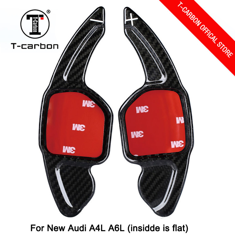 Car styling Real Carbon Fiber Steering Wheel Shift Paddles Wheel Paddle for New Audi A3 A4L A5 A6L A7 A8 S5 S6 S7 S8 Q3 Q5 Q7 TT