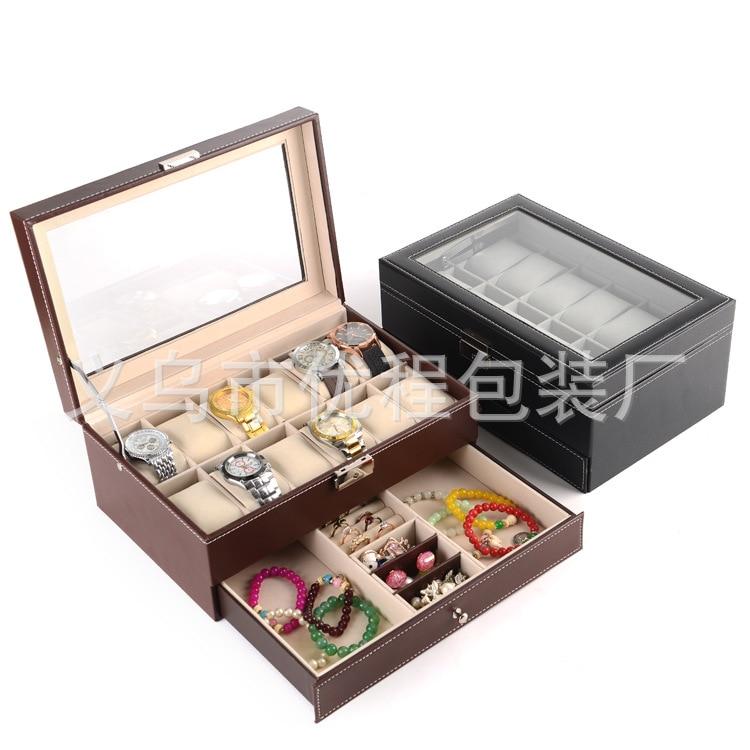Boîte d'affichage de montre double couche 12 étages 30*20*13 cm boîte à bijoux haute qualité PU boîte de rangement de bijoux anneau boucles d'oreilles boîte de rangement