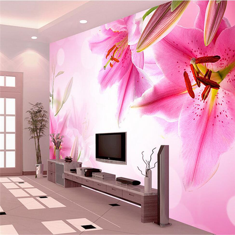 Custom 3d Wallpaper Lily Photo Wallpaper-3d High Quality Woman's Bedroom 3d Wall Mural Wallpaper Living Room Restaurant Study large mural living room paper bedroom study 3d wallpaper blue sky children room decoration painting page 3