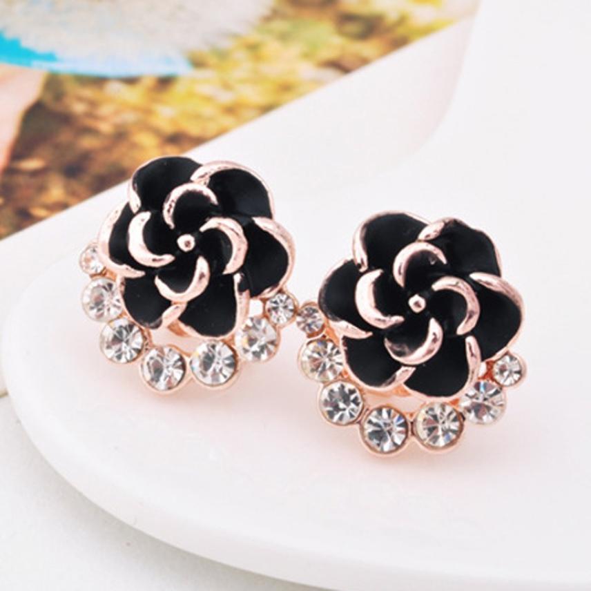 Hot Earings Fashion Jewelry Fashion Flower Peony Women Girls Crystal Female Earrings Trendy Style Unique Designed Cute Pretty We