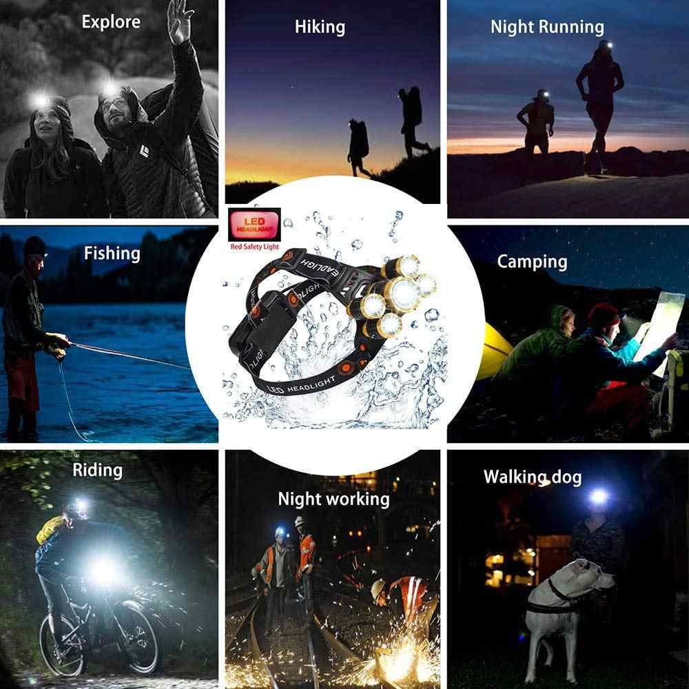 7000LM LED lampe frontale capteur de mouvement pêche phare 3/5 LED T6 tête torche lampe à LED lampe de poche Camping lumière étanche 2x18650