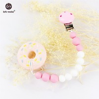 Silicone Donut Baby Pacifier Holder Stroller Teething Pacifier Clip Silicone Teether Toy Pram Chewable Beads Safe