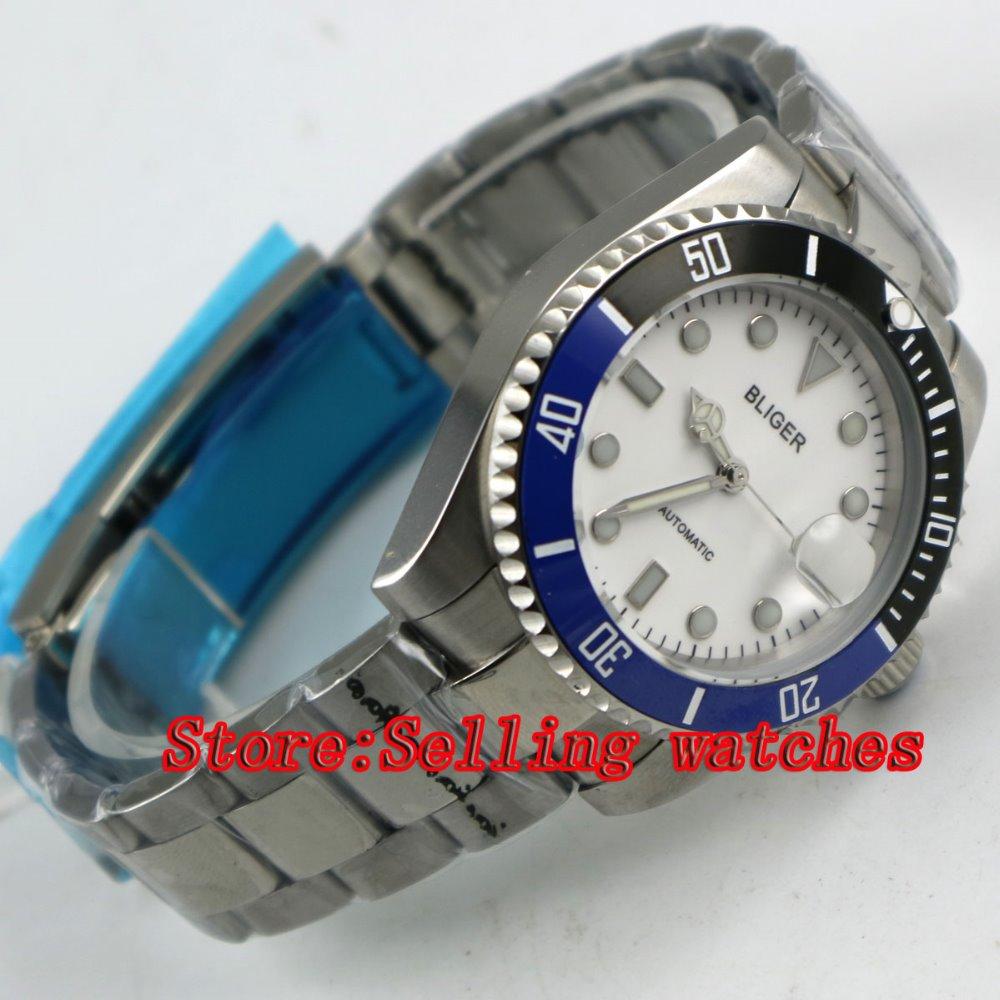 Bliger 40mm white dial luminous saphire glass blue & black Ceramic Bezel Automatic movement men's watch men цена и фото
