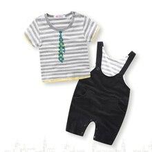 Children Boy Fashion Short Sleeve Round Neck Striped T-shirt Seven-point Cropped Strap Trousers Cotton Set Baby Clothes 2pcs