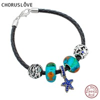 Choruslove Black Braided Leather Bracelet with Ocean Animals Charms Beads 925 Silver Lobster Clasp for Birthday Gifts SJ2010
